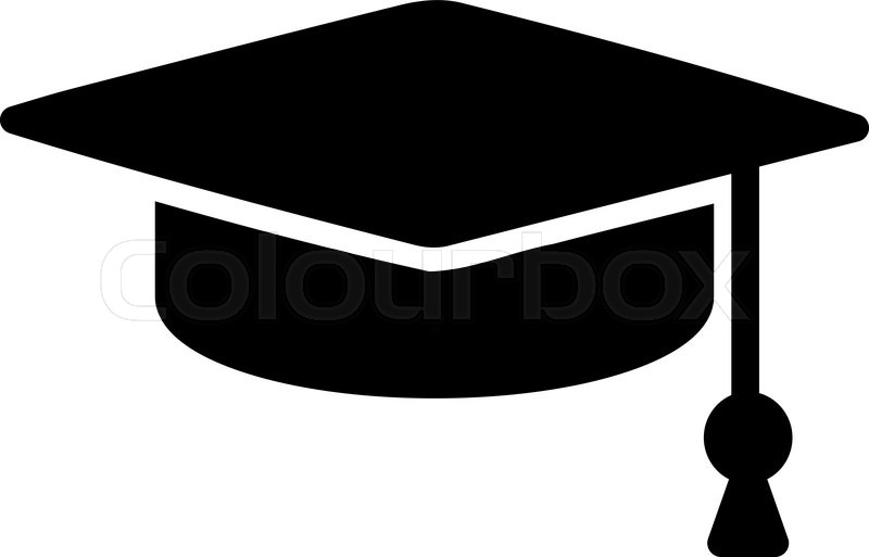 Graduation Cap vector icon. Style is flat symbol, black ...
