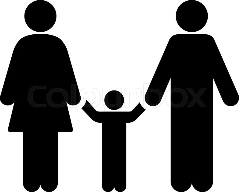 Parents And Child Vector Icon Style Stock Vector