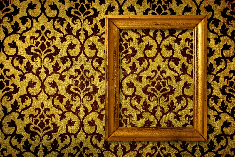 Gold Frame On A Vintage Yellow Wall Background Stock