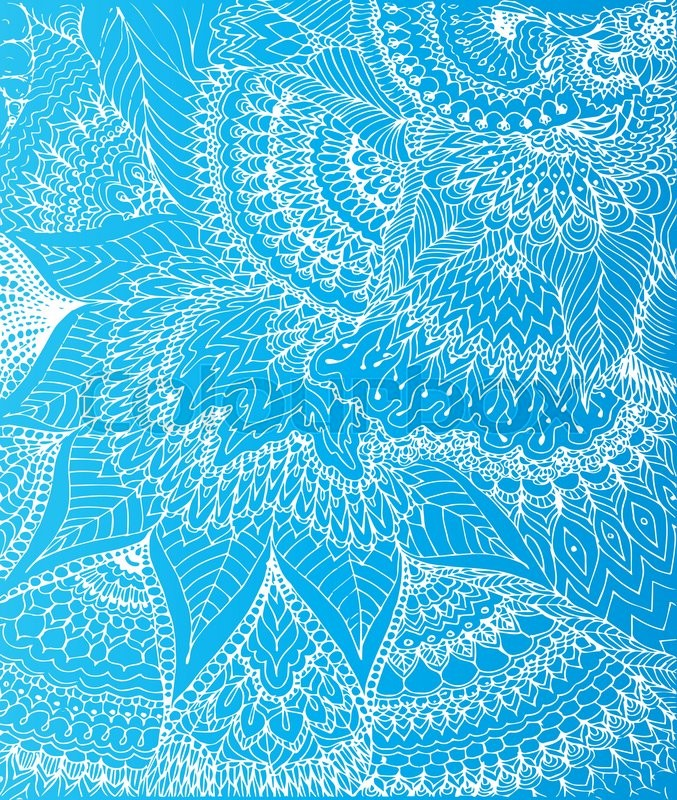 Vector illustration of doodle drawing on the light blue ...