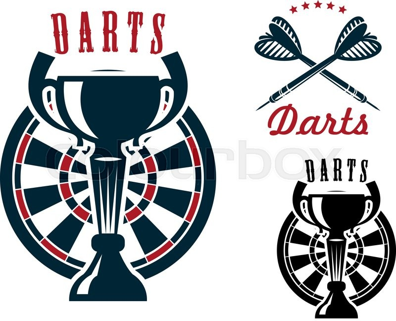 Darts Game Symbols With Trophy Cup On Dartboard And Crossed Arrows