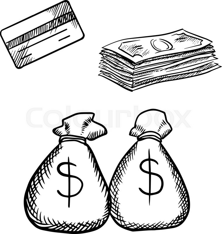 Line Drawing Money : Bank credit card stack of dollar bills and money bags