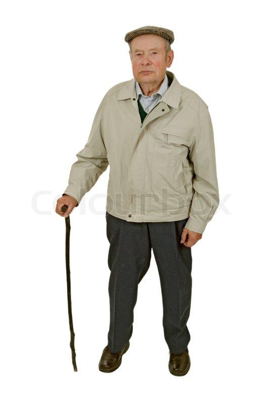 gammel mand med en stok nøgen sauna Danmark