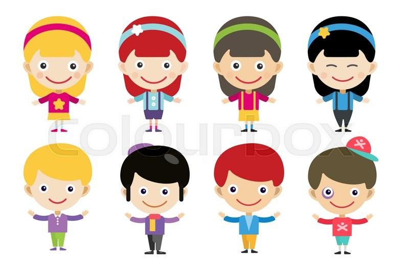 Meninos E Meninas De Nacionalidades Diferentes Childre: Vector Cute Cartoon Boys And Girls Together. Children