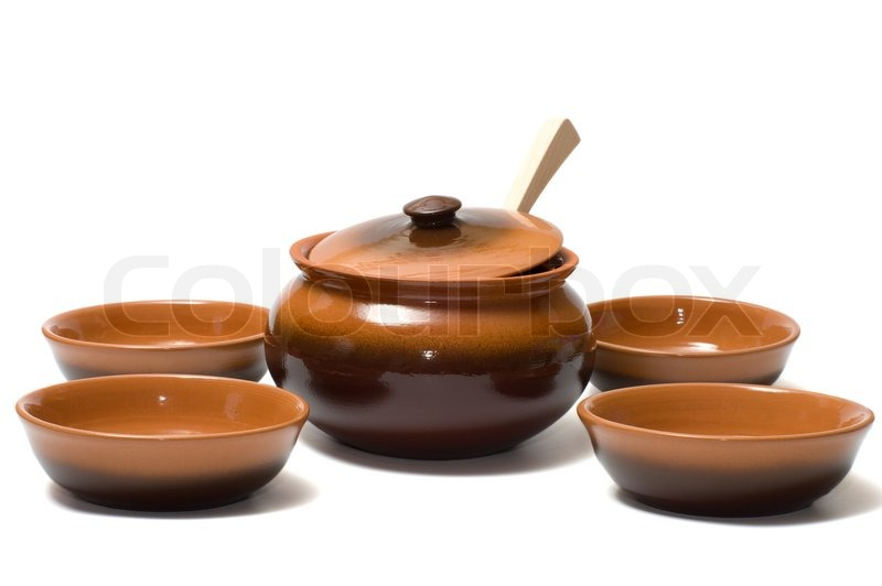 Ceramic Ware And Wooden Spoon On A Stock Photo