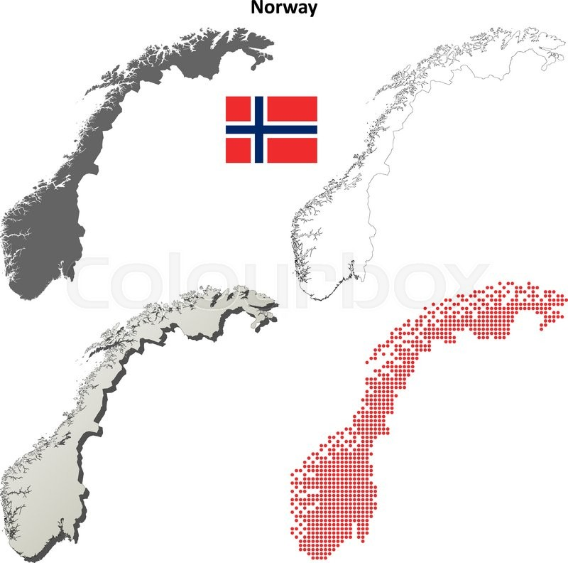 Norway Blank Detailed Outline Map Set Stock Vector Colourbox
