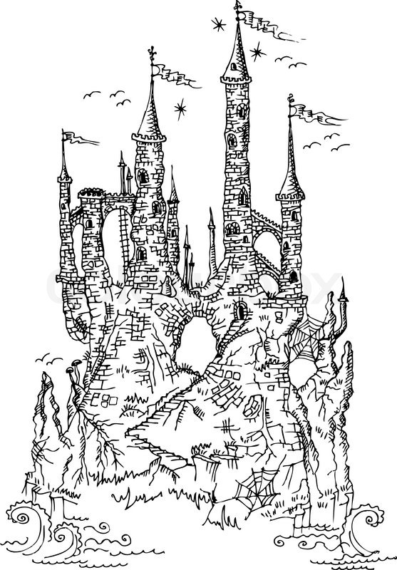 Gothic castle from fairytale III, vector