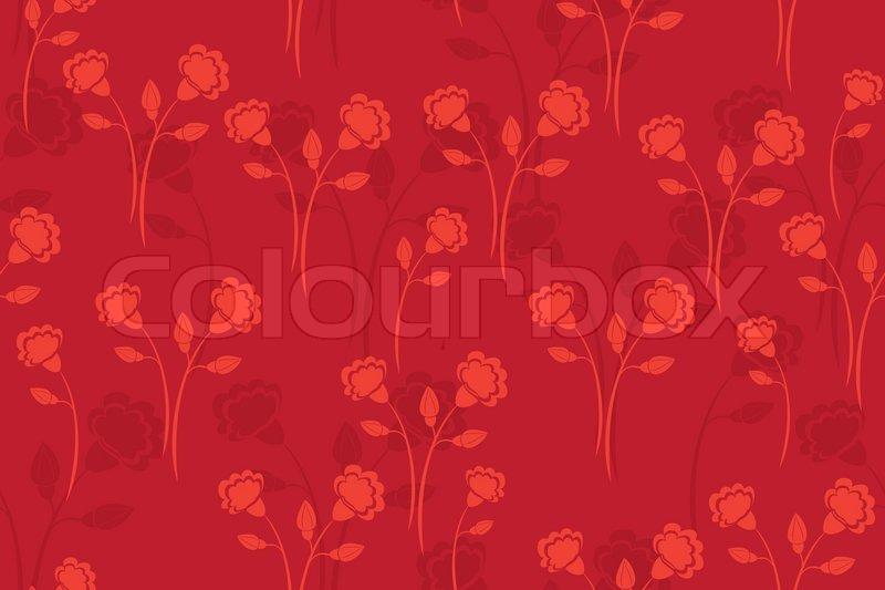 vektor nahtlose rote muster mit blumen vektorgrafik colourbox. Black Bedroom Furniture Sets. Home Design Ideas