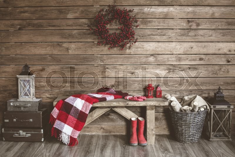 Winter home decor. Christmas rustic interior. Farmhouse decoration style, stock photo