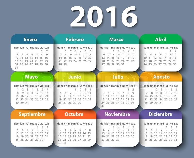 Calendar 2016 Year Vector Design Template In Spanish Eps Stock