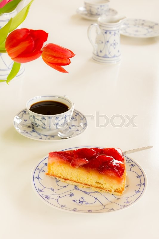 Coffee Strawberry Cake And Tulips