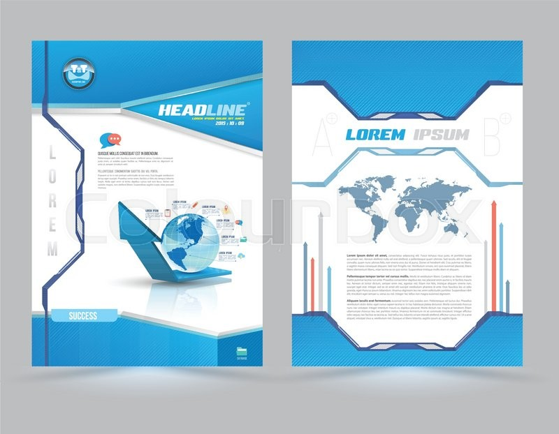Cover Page Layout Template Technology Style Vector