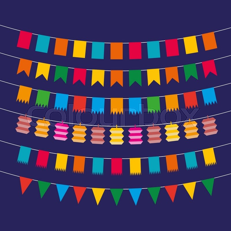 Color flat pennant bunting collection triangular and square in red color flat pennant bunting collection triangular and square in red yellow blue green orange colors at dark backgound in flat design vector illustration maxwellsz