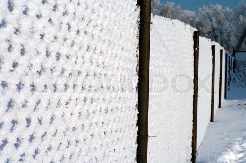 Metal wire mesh fence covered with snow.   Stock Photo   Colourbox