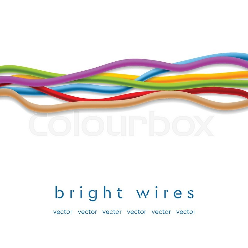 Isolated colorful abstract wires on white background. Technology ...