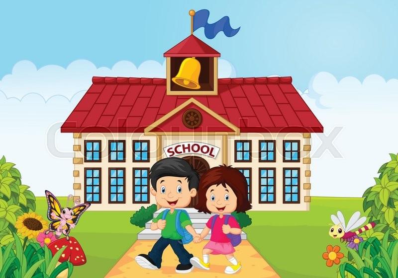 Vector illustration of Cartoon happy little kids on school building ...