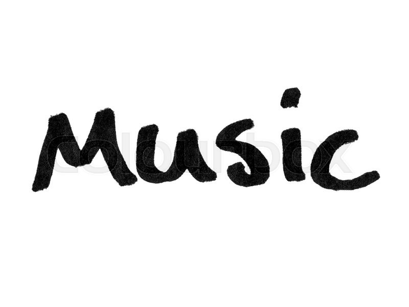 word music handwritten with black marker isolated on white