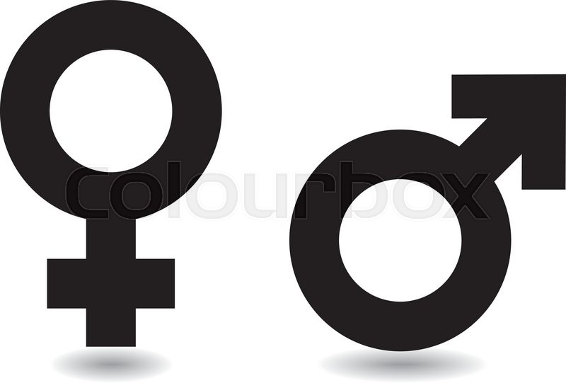 Black And White Female Male Symbols With Drop Shadow Stock Vector