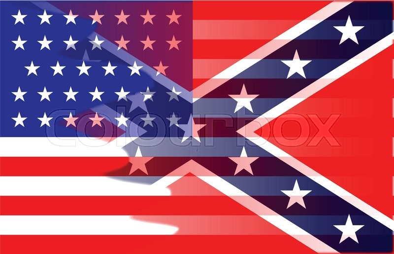 the flag of the opposing sides during the american civil war stock