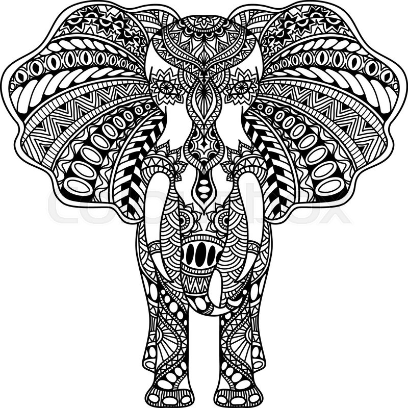 Vector Hand Drawn Henna Mehndi Tattoo Doodle With Decorated Indian Elephant