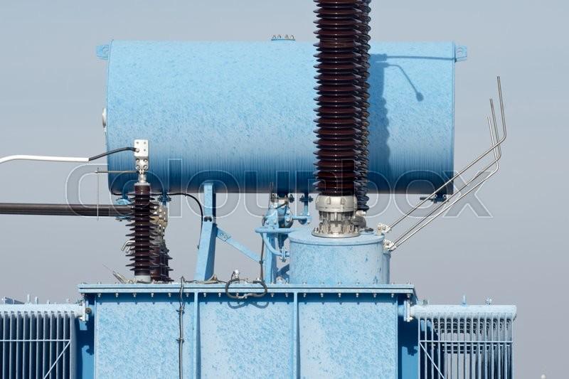Closeup of an electrical substation elements, Zaragoza province, Aragon, Spain, stock photo