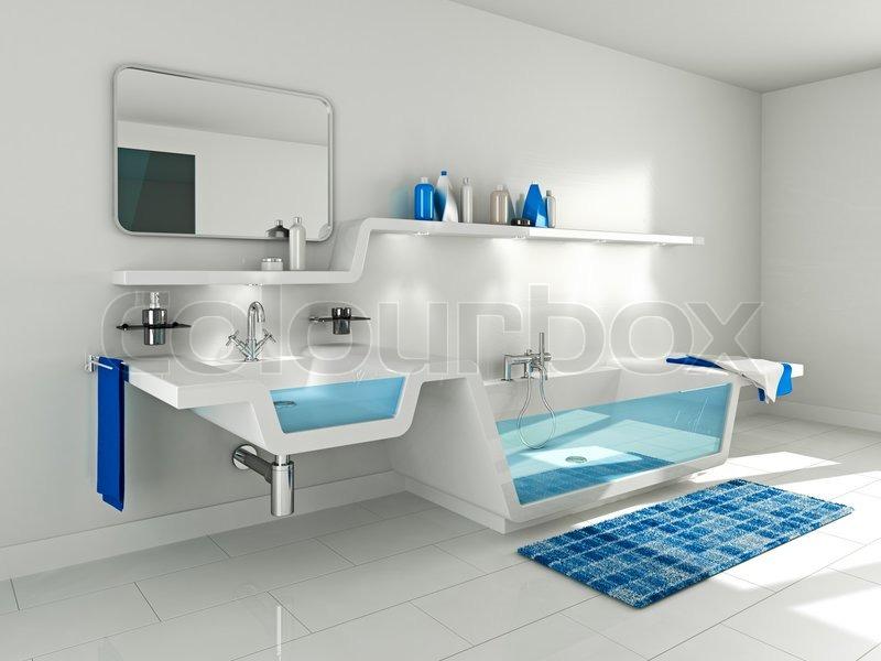badeværelse interiør 3D Illustration af moderne badeværelse interiør. | stock foto  badeværelse interiør