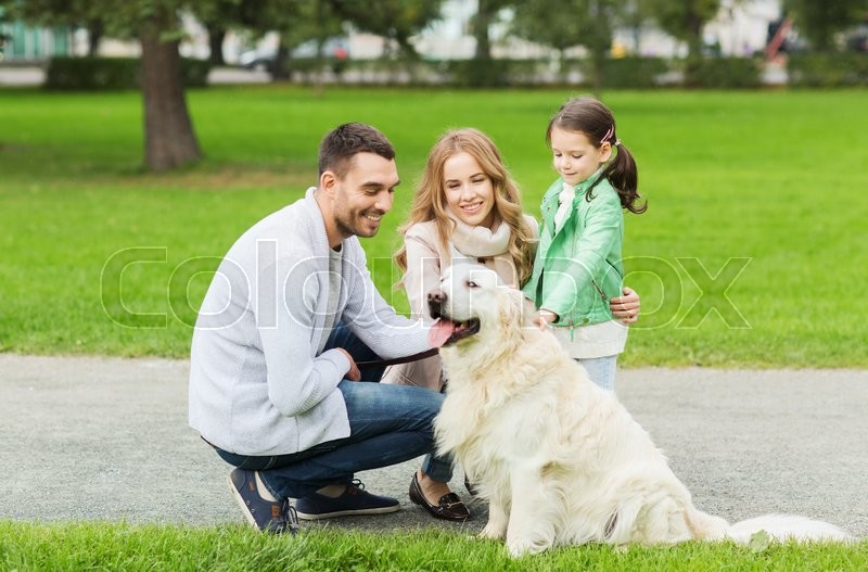 Family, pet, domestic animal and people concept - happy family with labrador retriever dog on walk in summer park, stock photo