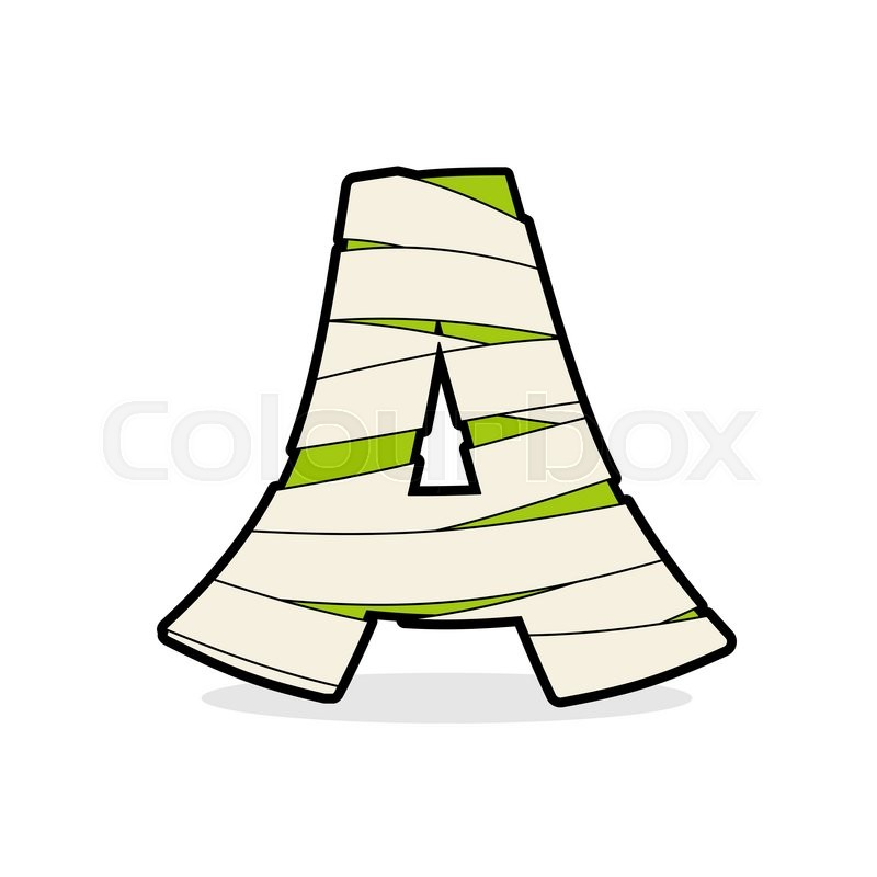 letter a mummy typography icon in bandages egyptian zombie