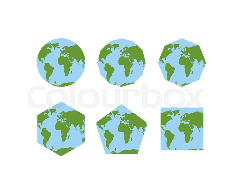 Set of geometric shapes of world atlases map of planet earth set of geometric shapes of world atlases map of planet earth earth is round pentagon with continents hexagon planet earth world square ground vector gumiabroncs Choice Image