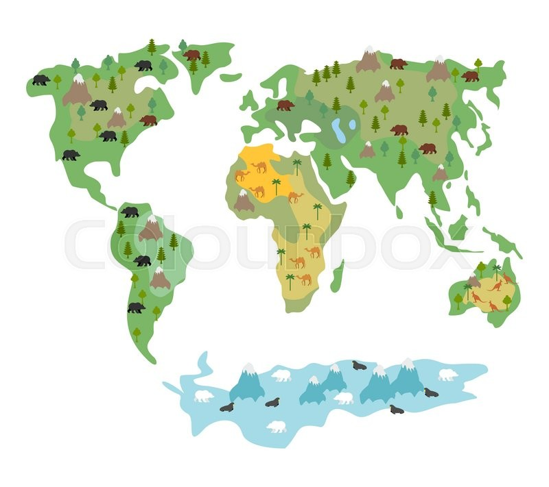 geographic map of globe with flora and fauna conditional cartoon kids map with bears and kangaroos world map with continents of earth