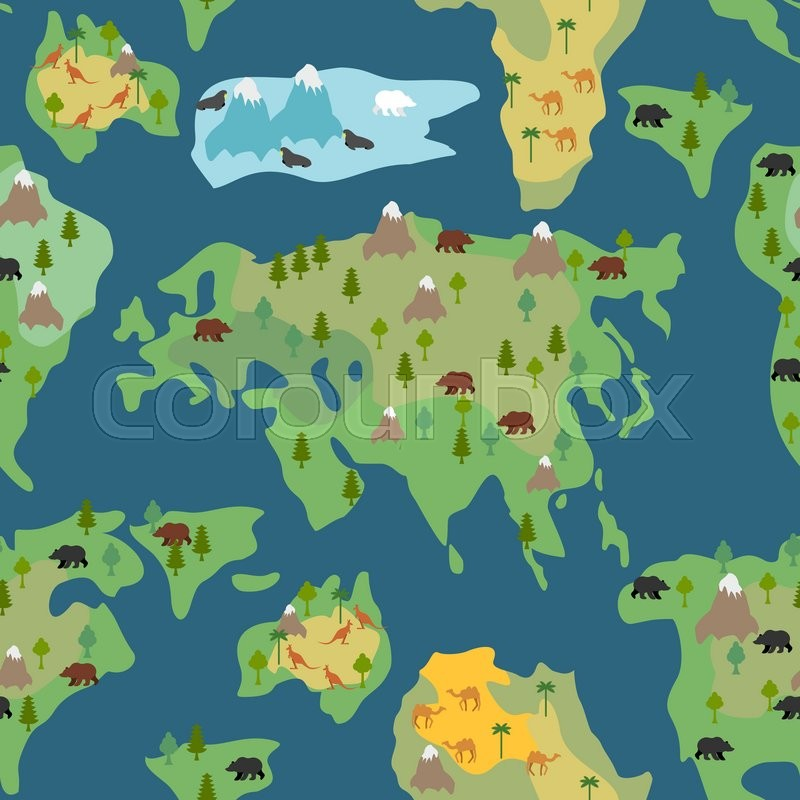 Continents seamless pattern world map is endless ornament continents seamless pattern world map is endless ornament geographical atlas with flora and fauna background detailed map with animals and trees gumiabroncs Image collections