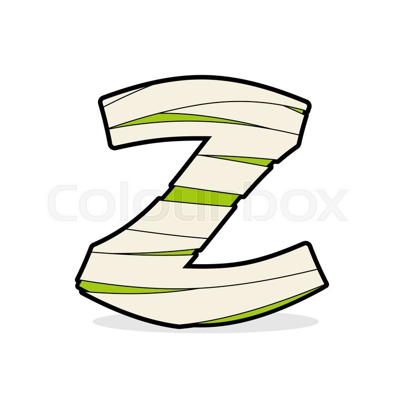 Letter Z Egyptian Zombies. Mummy ABC Icon Coiled Medical Bandages. Monster  Template Elements Alphabet. Scary Concept Type As Logo.