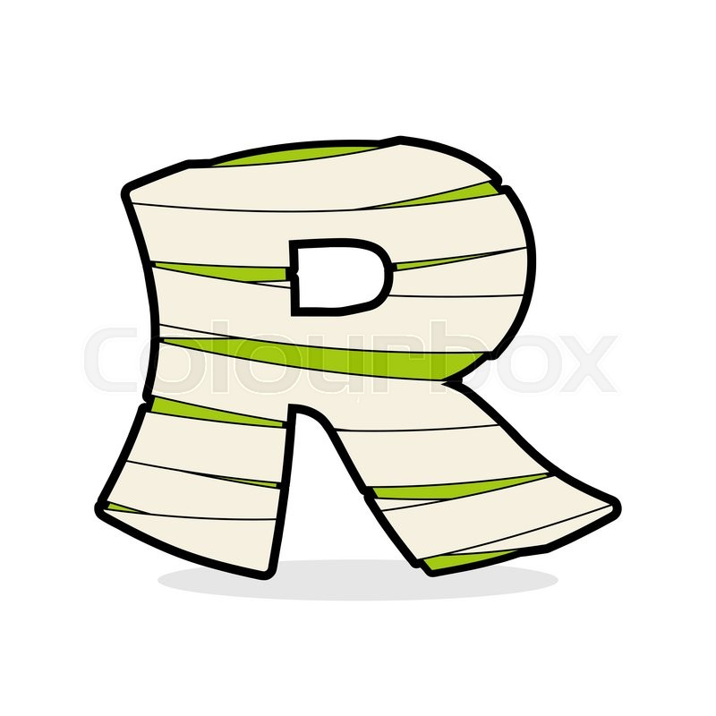 letter r monster zombie alphabetical icon medical bandages