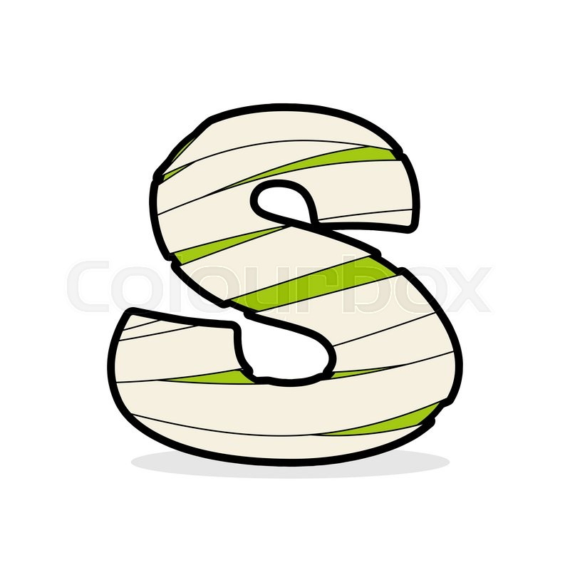 Letter S Egyptian Zombies. Mummy Abc Icon Coiled Medical Bandages