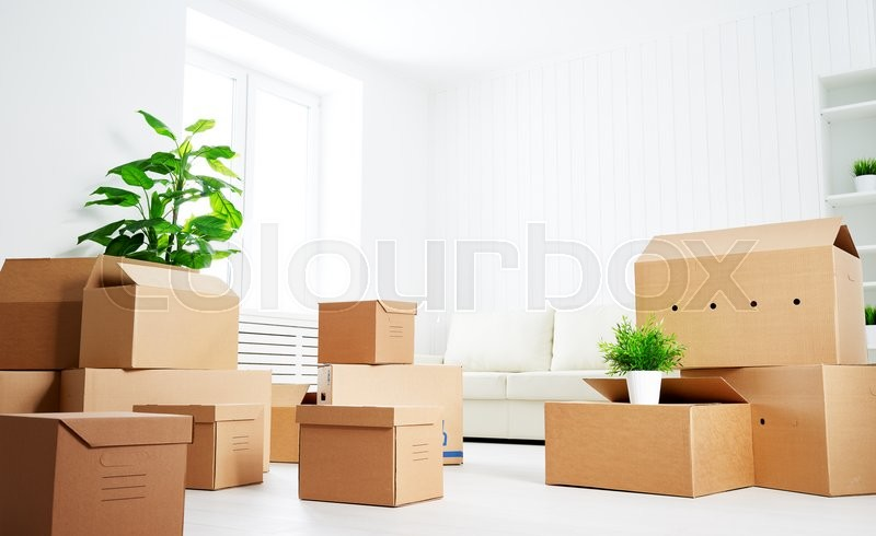 Move. lots of cardboard boxes in an empty new apartment, stock photo