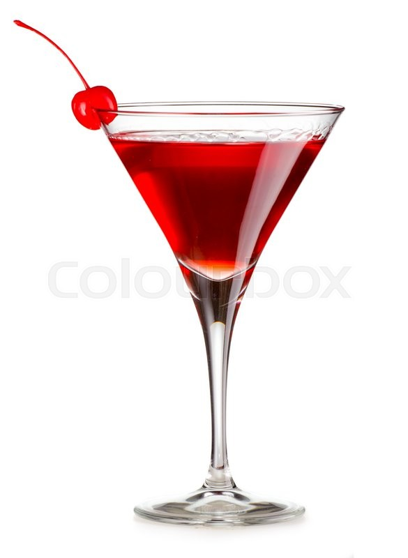 Stock image of 'Cosmopolitan cocktail with cherry isolated on white background'