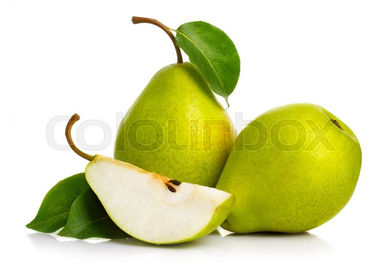 Ripe green pears isolated with leaves isolated on white, stock photo