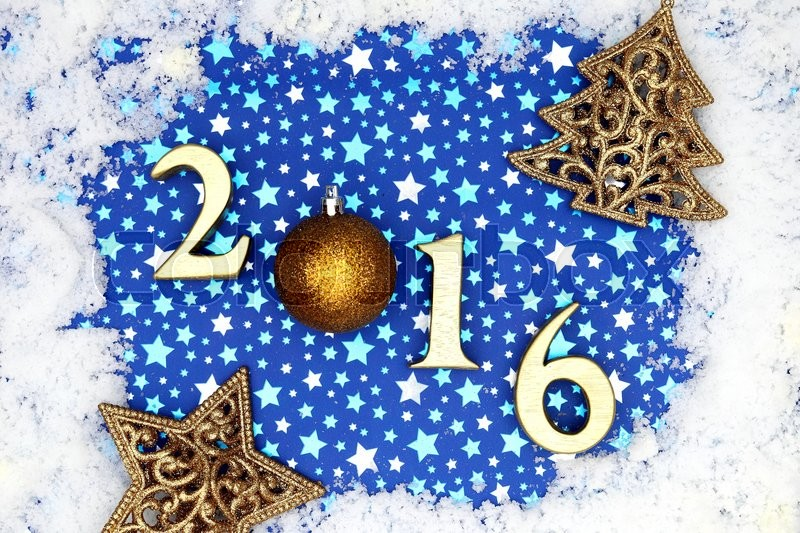 christmas frame with golden 2016 letters close up stock photo