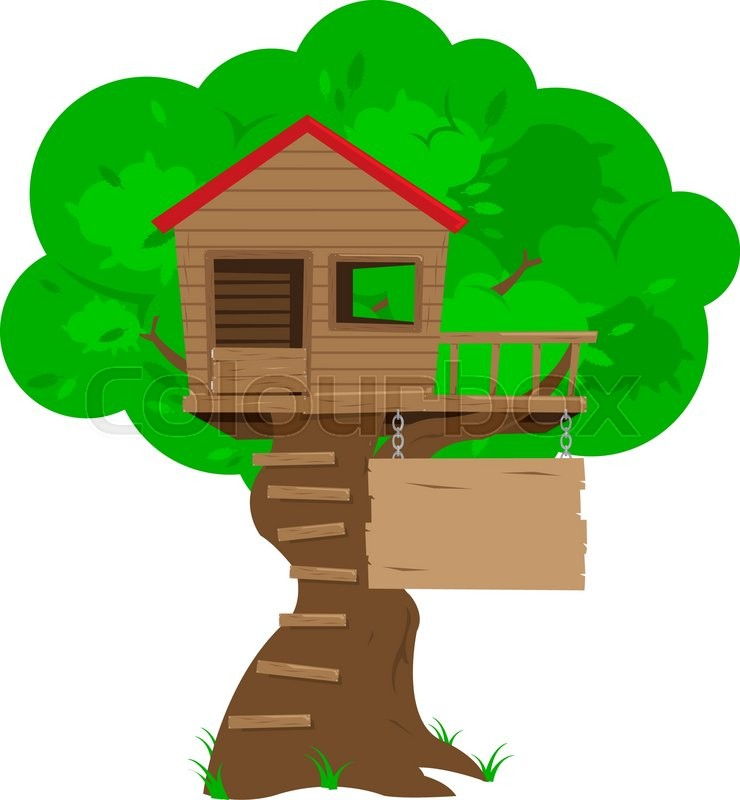 A colorful cartoon tree house with a blank sign space for for Colorful tree house