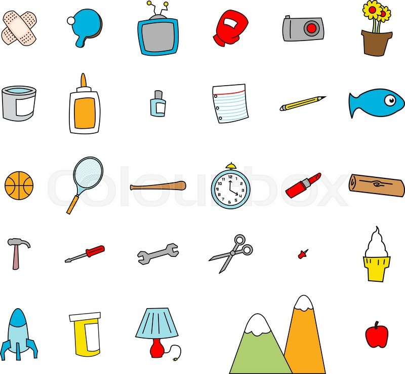 childlike doodles of everyday objects in a simple cartoon style stock vector colourbox - Simple Cartoon Pics