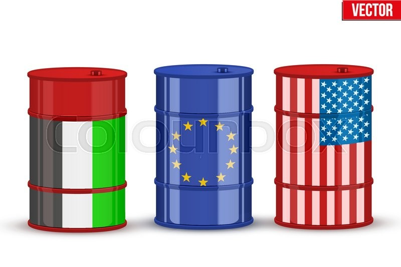 Symbols Of Benchmark Trading Oil Brent Wti And Dubai Crude