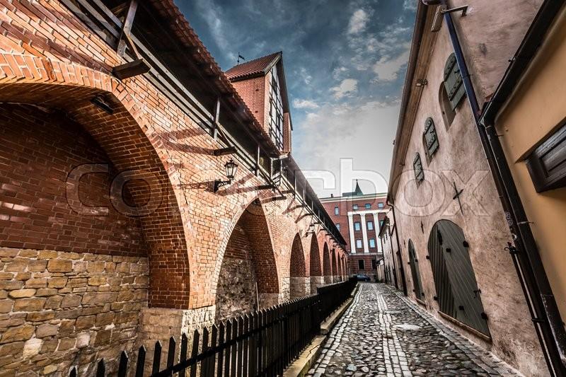 Famous narrow medieval architecture ... | Stock Photo ...