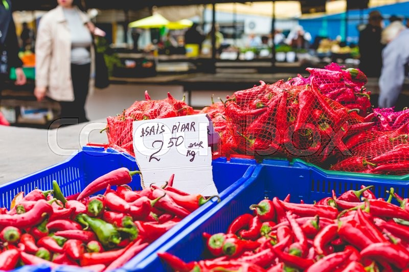 Red hot chili peppers in local market, stock photo