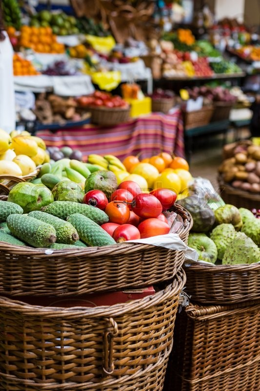 Stock image of 'Fresh exotic fruits in Mercado Dos Lavradores. Funchal, Madeira'