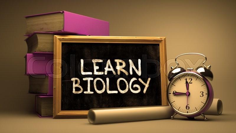 learn biology handwritten by white chalk on a blackboard