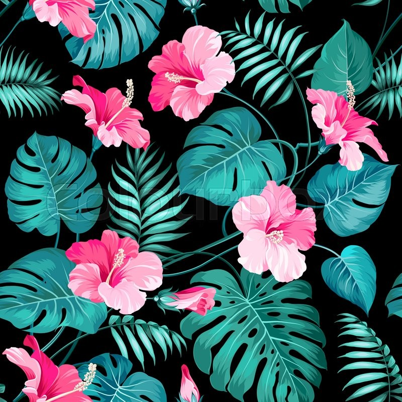 Tropical Flowers And Jungle Palms. Seamless Texture