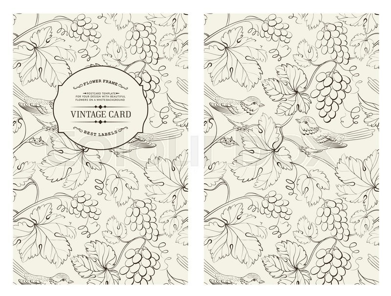 Book Cover Design Pattern ~ Book cover design grape wine card vintage pattern of