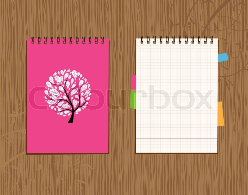 Notebook Cover Background : Notebook cover and page design on stock vector