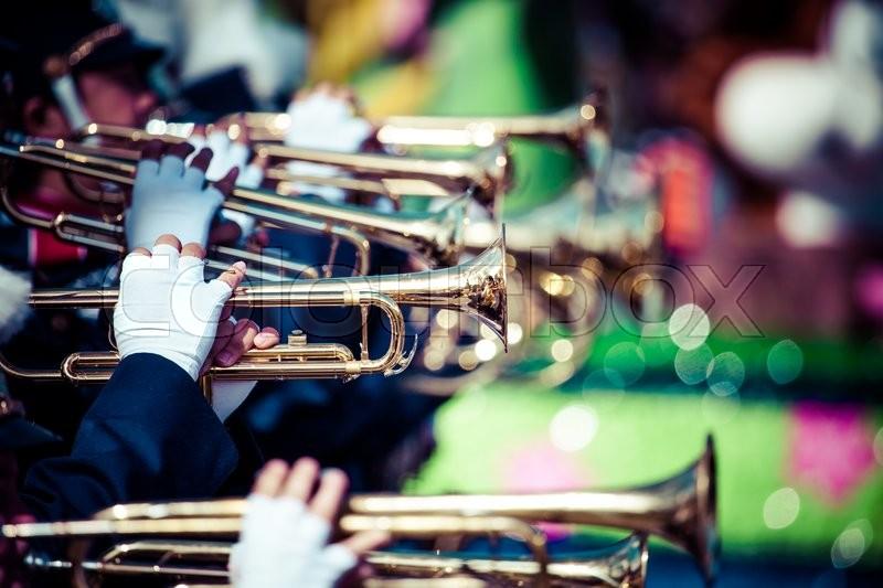 Brass band parade, stock photo