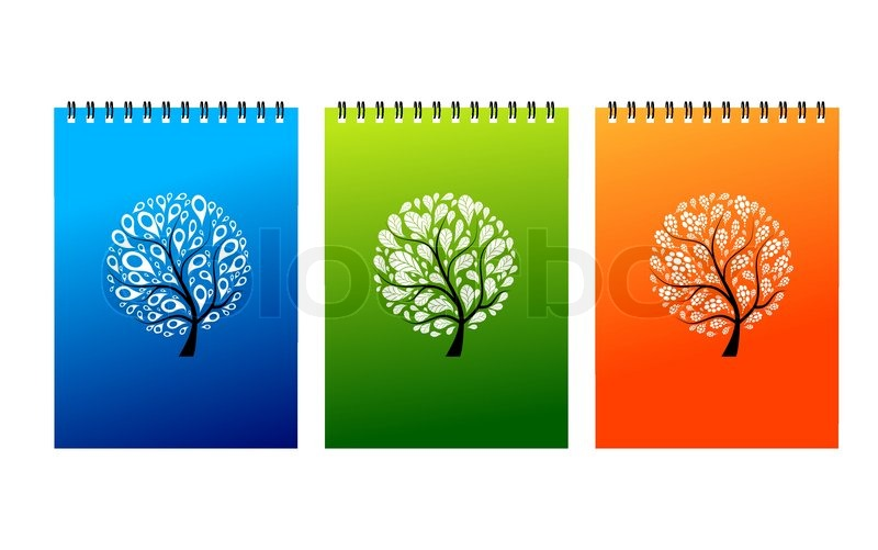 Notebook Cover Art ~ Notebook covers design art tree stock vector colourbox